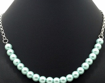 Light Blue Pearls & Sterling Silver Plated Oval Rolo Chain / Ocean Breeze Necklace