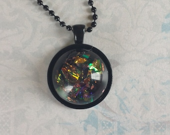 Faux Dichroic Necklace Iridescent Cabochon Resin Pendant