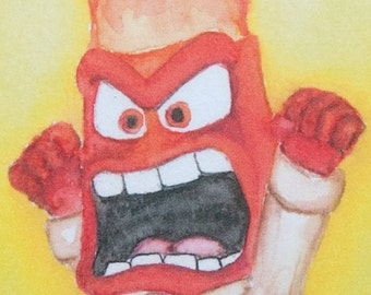 "Inside Out ""Anger"" , art mini print, from original watercolor, home decor"