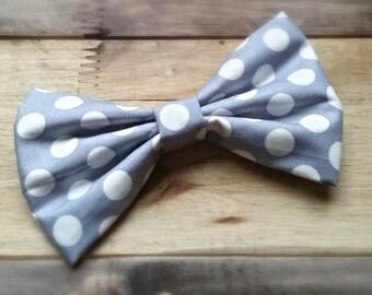 Classic Gray Polka Dot Bow Tie
