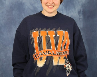 Vintage 80s 90s UVA Sweatshirt // Cavaliers // College // University of Virginia // Wahoo // Charlottesville // Sports Athletics // XL