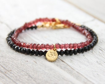 Delicate Gold Plated Om Pendant Stackable Bracelet - Om Bracelet - Yoga Bracelet - Stackable Bracelet - Stacking Bracelet - Yoga Jewelry