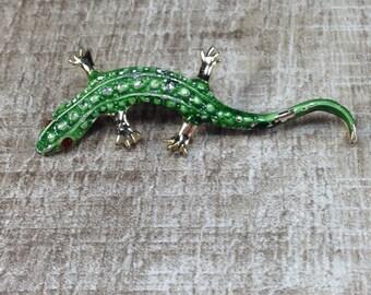 Stunning Vintage Estate Rhinestone Green Enamel Lizard Gecko Brooch