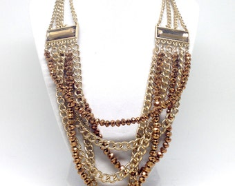 Gorgeous Vintage Style Multi Strand Chain Metallic Facet Bead Gold Tone Necklace