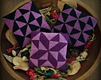 Primitive Punch Needle Folk Art Bowl Fillers Ornies Set of 3