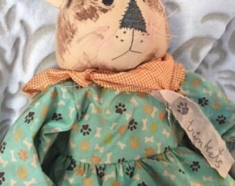 Handmade Dog Decor, Handmade Dog Doll, Art Doll Dog, Dog Doll, Primitive Doll, Whimsical Home Decor, Dog Lovers, Primitive Dog Doll, Art