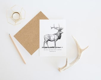 be still card, deer, Be Still And Know That I Am God | Psalm 46:10 | Christian Encouragement | Christian Cards | Encouragement Card