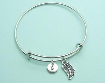 Indiana charm bangle bracelet, personalised initial bangle, letter, personalised charm, USA