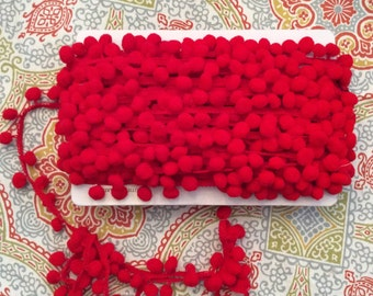 2 yards red 1 inch pompom fringe  trim