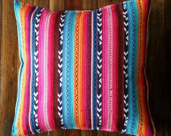 Woven Mexican colourful cushion cover