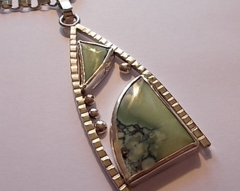 Sterling silver and varisite pendant