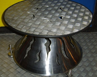 Table, fantasy, flame, designer table, stainless steel table