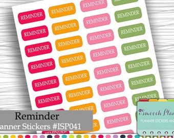 Reminder Planner Stickers, Erin Condren Life Planner (ECLP), Happy Planner | #ISP041