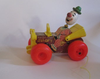 Vintage Fisher Price 1965 Jalopy Clown Car Wooden Pull Toy #724
