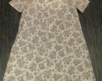 Vintage Handmade 1960's Mod Mini Floral Dress Cotton Retro