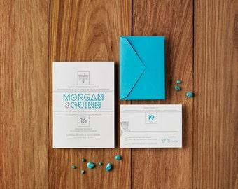 Southwest Santa Fe - Custom Letterpress Wedding Invitations Stationery Suite, Deposit Only