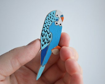 """Wood brooch """"Parrot"""""""" / Wood brooch / Wood pin / Parrot brooch / Wood jewelry / Wood handmade / Wood accessories / Parrot pin"""
