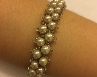 Final Discount-Handmade Pearlish Beaded Bracelet