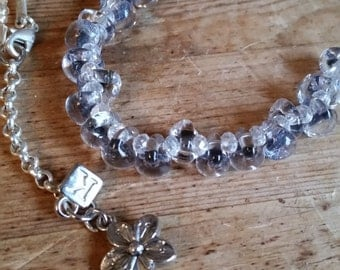Gorgeous sparkle bubble beads floating necklace in a midnight sky sparkle colour