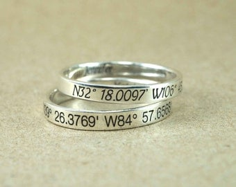 Coordinates Ring, Latitude Longitude Ring, Location Ring, Personalized Latitude Longitude Jewelry,  latitude Ring, 3 mm. 925 Sterling Silver