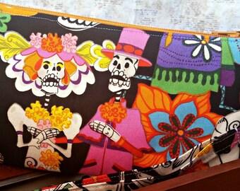 Day of the Dead Wristlet - Skeletons - Dia de los Muertos - Nerd - Geek - Wallet - Zippered Pouch - Clutch - OOAK - Custom Made