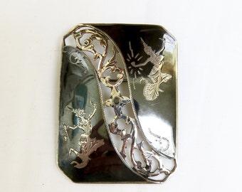 Vintage Siam Sterling Silver Oblong Brooch