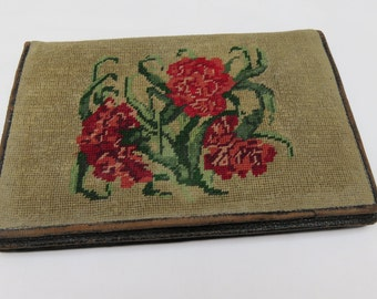 1930s Tapestry and Leather Clutch Bag