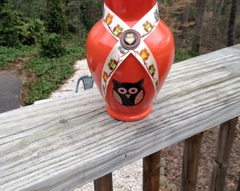 Orange Owl Glass Vase