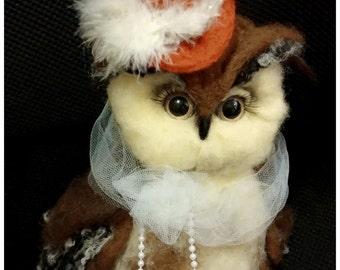Felting Owl Beatrice. Needle Felt Decoration. Home Decor