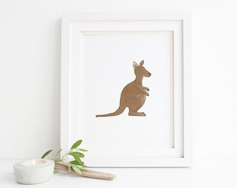 Kangaroo Illustration Print - Optional Free Colorful Balloon - Nursery Art, Kid's Decor, Children's Bedroom, Australian Animal Outback, Zoo