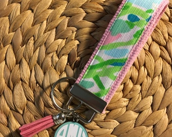 "Lilly Pulitzer 4"" Key Fob with Monogram Disc and Tassel"