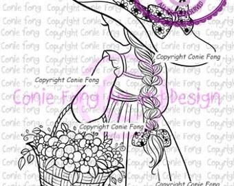 Digital Stamp, Digi Stamp, Digistamp, Spring Flowers by Conie Fong, Coloring Page, girl, flower, basket