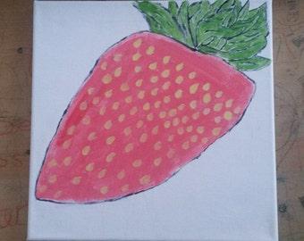 Summer Strawberry Canvas Handpainted