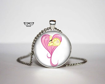 Pony Necklace, Pink pony pendant, Art Gifts, for Her, for him