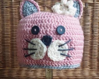 Crochet Kitty Cat Hat! Purrfect for Winter, Halloween, Dress Up, Photo Prop!!