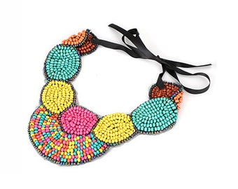 Multicolor Beaded Tribal Ethnic Collar Necklace
