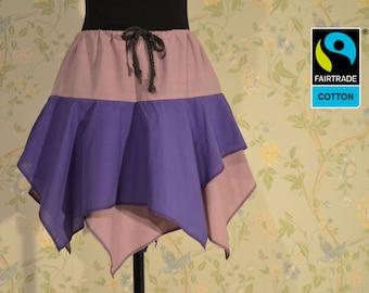 fairtrade skirt in dusky pink and grape with lappet, fair vegan organic, violett, purple, rose, elf, witch, handmade