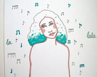 "Musical Hair // A6 Print// ""Stanging girls"" series"