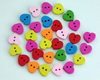 20 Heart Wooden Buttons #EB17