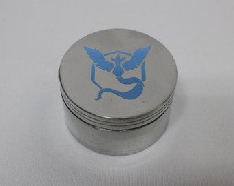"Aluminum Pokemon Team Mystic Go Blue Herb Grinder 2.5"" 4 Piece Weed Accessory"