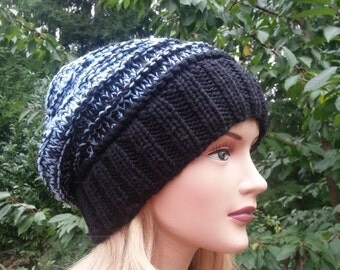 Handmade  Chunky knit Hat. 100% Wool Women Hat. Unique handmade knitted hat. Slouchy Knit Beanie. Pure Wool Winter Hat.