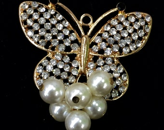 Large Butterfly Charm - Pearls, Rhinestone, Crystal Pendant Jewelry Making Wholesale