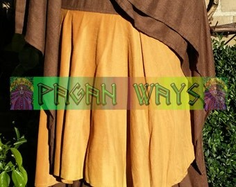 Pagan fantasy dress - brown and ocher / yellow dress with wide sleeves - Celtic bohemian hippie indie folk fantasy festival Avalon Morgaine