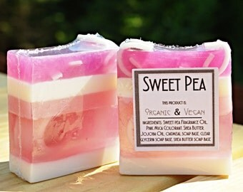 Vegan - Handmade Soaps : Sweet Pea Soap - Handmade Vegan Soap, Natural Soap, discount soap, BOGO