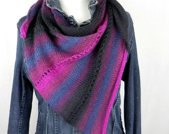 HANDKNIT shawl Scarf knitting cloth Merino Mulberry silk