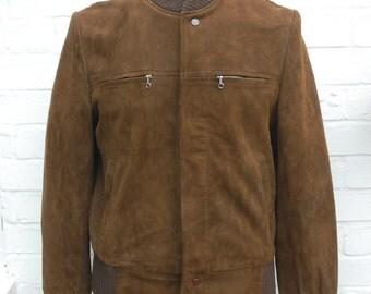 "Vintage 60's American Brown Suede & Knit Bomber Jacket Medium/Large 42"" Talon Zip Newey Press Studs"