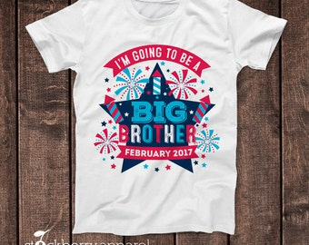 Big Brother 4th of July Pregnancy Announcement Shirt - I'm Going to be a Big Brother - 4th of July Baby Announcement - Fourth of July tee