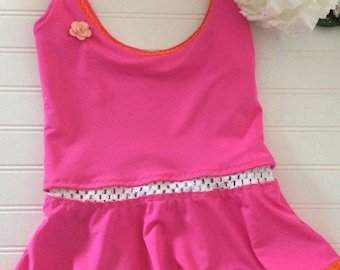 Peplum Tankini Top Swimsuit with  Elastic Detail
