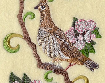 pennsylvania ruffed grouse and mountain laurel embroidered tea towel pennsylvania state bird and state flower