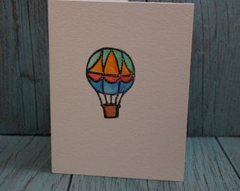 Hot Air Balloon Hand Stamped Watercolor Greeting Card